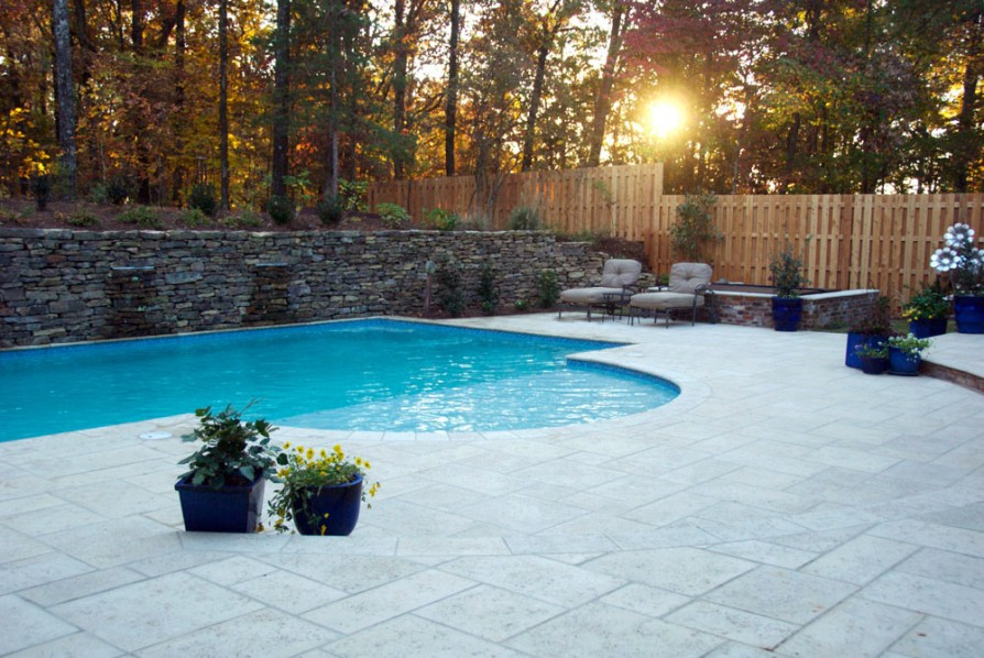 example of an oxford ms pool project - Pool and deck at sunlight